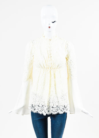 "Rachel Zoe ""Cynthia"" Cream Lace Sheer Silk Bell Sleeve Blouse frontview"