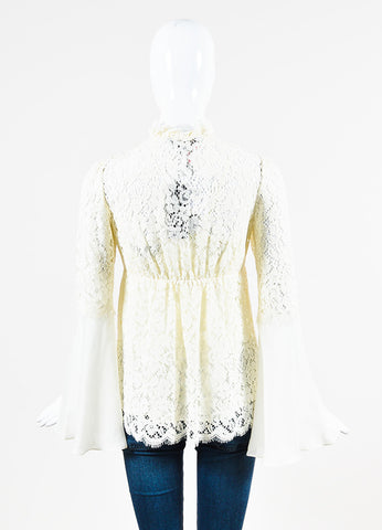 "Rachel Zoe ""Cynthia"" Cream Lace Sheer Silk Bell Sleeve Blouse Backview"