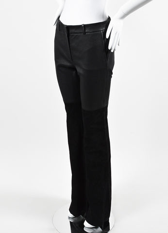 "Rachel Zoe ""Gigi"" Black Leather Suede Wide Leg Pants Sideview"