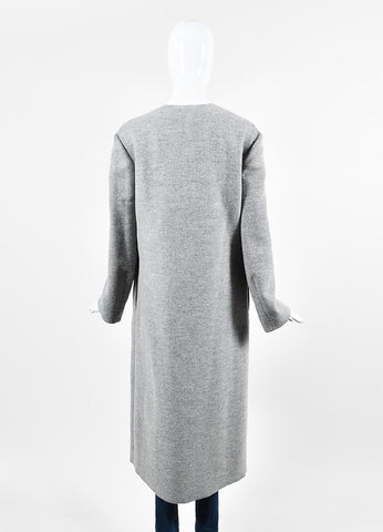 Adeam Grey and Cream Wool Belted Long Sleeve Double Faced Robe Coat Backview