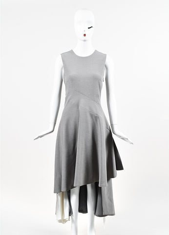 "Adeam ""Dove Grey"" and White Asymmetrically Pleated and Split Dress Frontview"