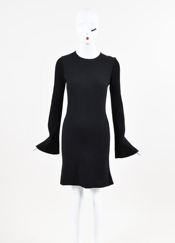 Derek Lam 10 Crosby Black Knit Ribbed Bell Sleeve Fluted Dress Frontview