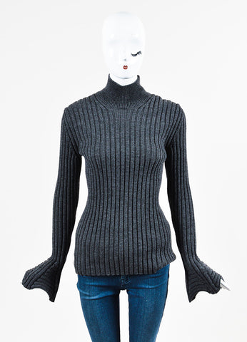 "Lanvin ""Dark Gray"" Wool Ribbed Knit Turtleneck Sweater Frontview"