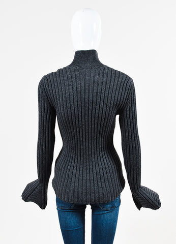 "Lanvin ""Dark Gray"" Wool Ribbed Knit Turtleneck Sweater Backview"