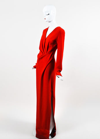 Lanvin Red Wool Blend Pleated Bodice High Slit Long Sleeve Gown Sideview