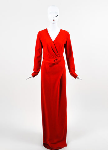 Lanvin Red Wool Blend Pleated Bodice High Slit Long Sleeve Gown Frontview