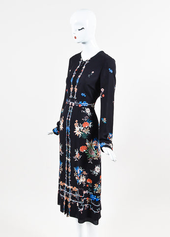 "Vilshenko Black Crepe Floral Print Long Sleeve Pleated ""Jerry"" Long Dress Sideview"
