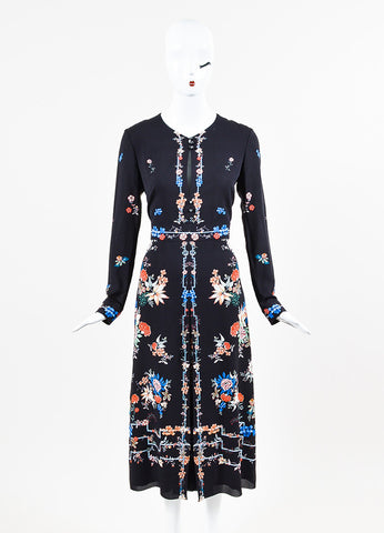 "Vilshenko Black Crepe Floral Print Long Sleeve Pleated ""Jerry"" Long Dress Frontview"