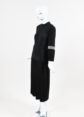 "Vilshenko Black Crepe Embroidered Pleated ""Dawn"" Long Dress Sideview"