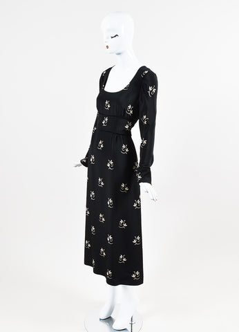 "Vilshenko Black and Tan Crepe Floral Print ""Rosie"" Full Length Dress Sideview"