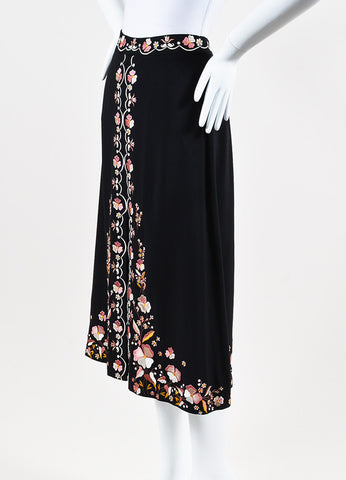 "Vilshenko Black and Pink Crepe Floral Embroidered ""Claire"" Slit Skirt Sideview"