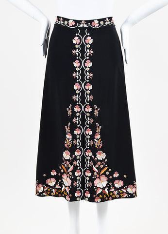 "Vilshenko Black and Pink Crepe Floral Embroidered ""Claire"" Slit Skirt frontview"