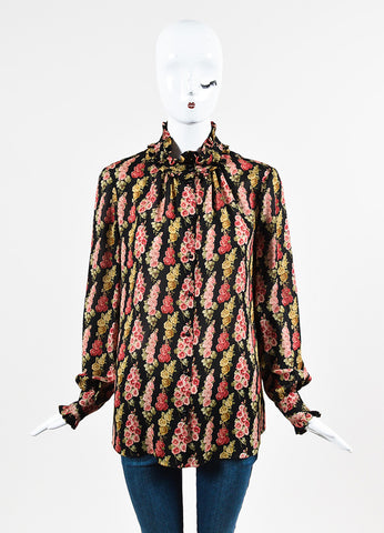 "Vilshenko Black Crepe Silk Floral Ruffle Trim ""Becca"" Blouse Frontview"