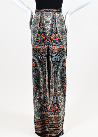 "Vilshenko Black and Multicolor Silk Paisley ""Joan"" Pleated Maxi Skirt Frontview"
