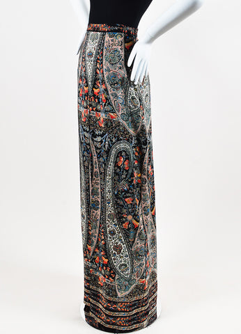 "Vilshenko Black and Multicolor Silk Paisley ""Joan"" Pleated Maxi Skirt Sideview"