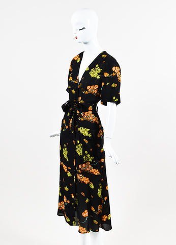 "A.L.C. ""Stephanie"" Black, Orange, and Yellow Silk Crepe Floral Wrap Dress Sideview"