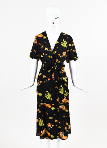 "A.L.C. ""Stephanie"" Black, Orange, and Yellow Silk Crepe Floral Wrap Dress Frontview"