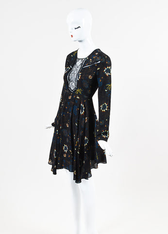 "A.L.C. ""Cynthia"" Black Multi Silk Lace Floral Long Sleeve Dress Sideview"
