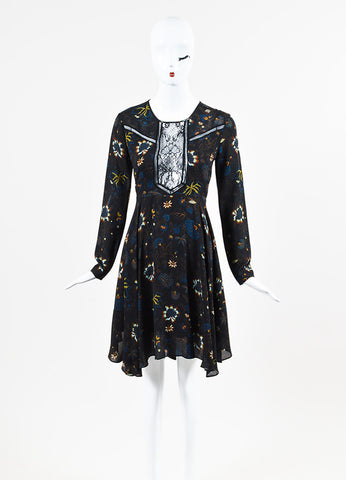 "A.L.C. ""Cynthia"" Black Multi Silk Lace Floral Long Sleeve Dress Frontview"