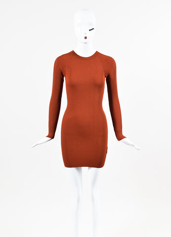 "A.L.C. ""Nick"" Burnt Orange Ribbed Knit Bodycon Dress Frontview"