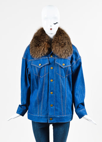 Adam Lippes Blue and Brown Denim Fox Fur Collar Jacket Frontview 2