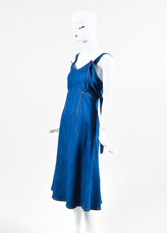 Adam Lippes Blue Denim Topstitched Sleeveless Flare Midi Dress Sideview