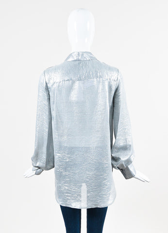 "Adam Lippes Silver Lame ""Blouseon"" Button Up Long Sleeve Blouse Backview"
