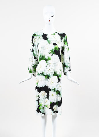 "Adam Lippes ""Karate"" White, Green, and Black Crepe Floral Dress Frontview"