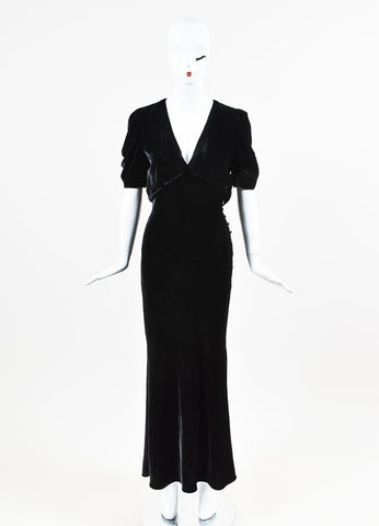 "Brock Collection Runway ""Daryl"" Black Velvet V Neck Short Sleeve Gown Frontview"