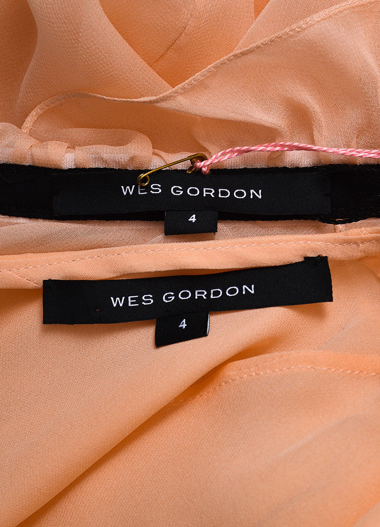 "Wes Gordon ""Pale Coral"" Silk Tie Two Piece Blouse 4"