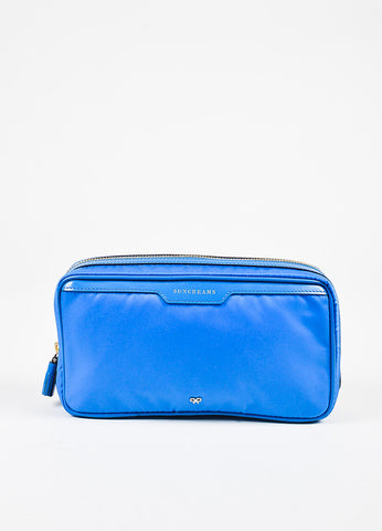 "Anya Hindmarch ""Cobalt"" Blue Nylon Patent Leather ""Suncreams"" Cosmetic Case Frontview"