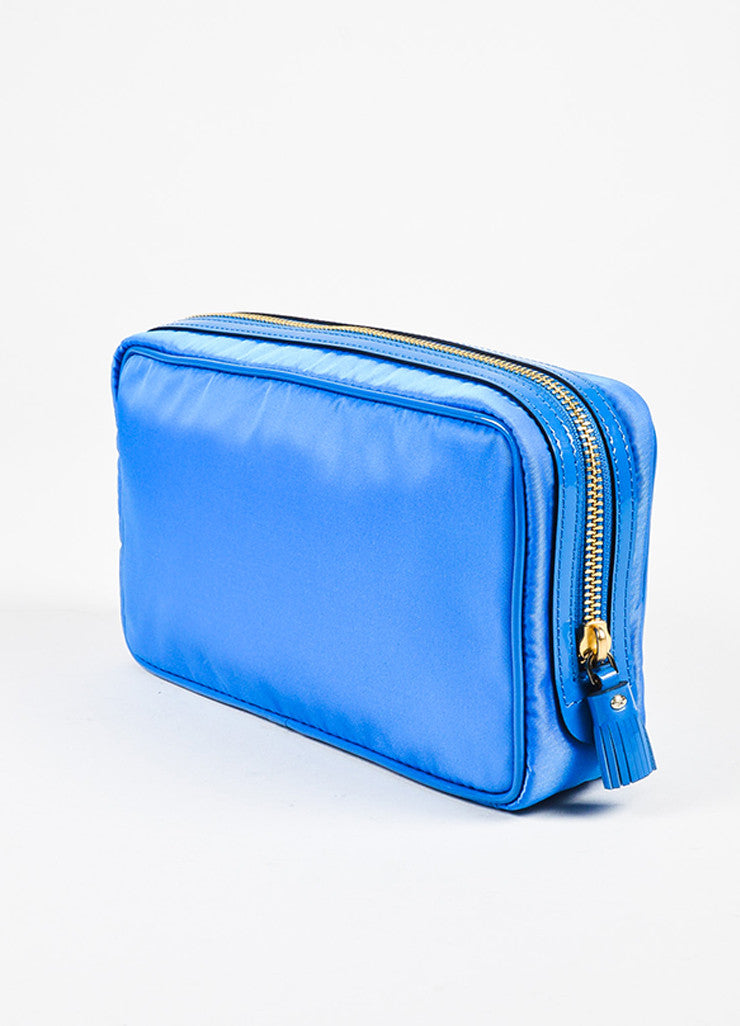 "Anya Hindmarch ""Cobalt"" Blue Nylon Patent Leather ""Suncreams"" Cosmetic Case Sideview"