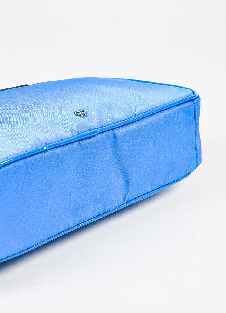 "Anya Hindmarch ""Cobalt"" Blue Nylon Patent Leather ""Suncreams"" Cosmetic Case Bottom View"