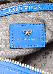 "Anya Hindmarch ""Cobalt"" Blue Nylon Patent Leather ""Suncreams"" Cosmetic Case Brand"