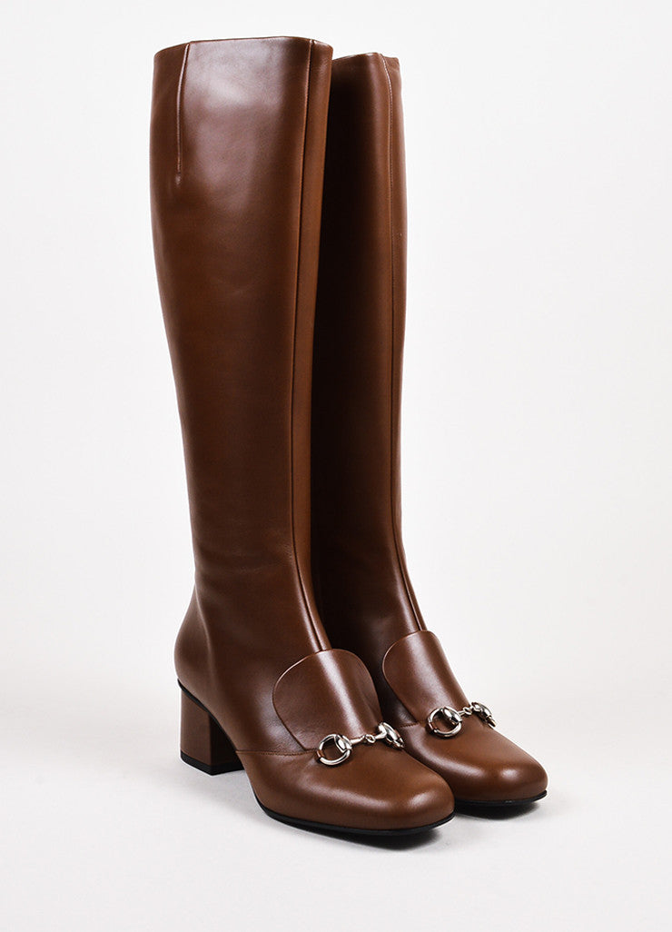 "Gucci ""Nut"" Brown Leather Horse Bit ""Twiggy"" Knee High Boots Frontview"