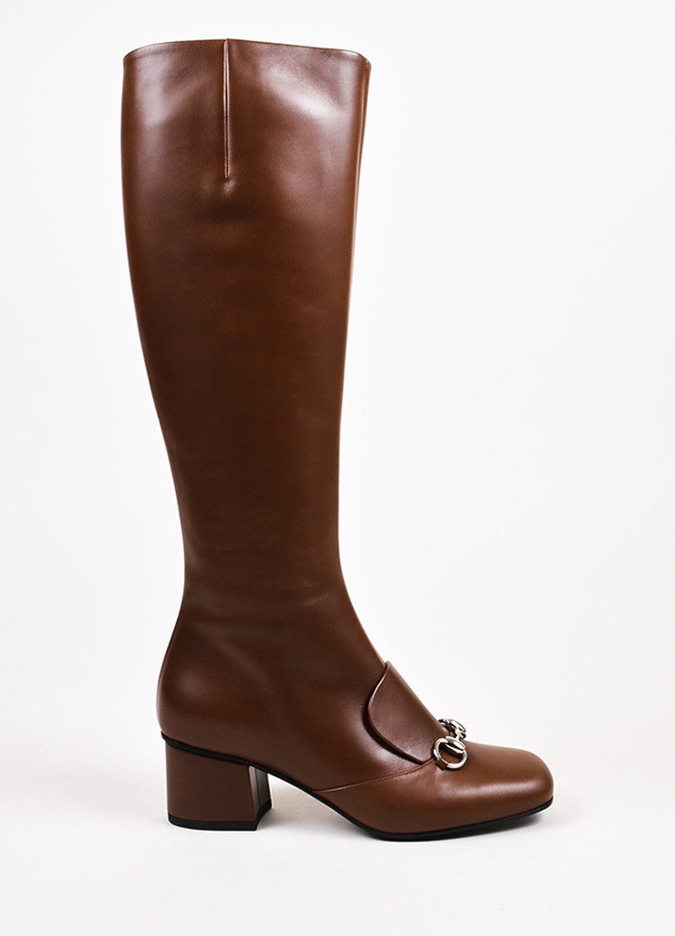 "Gucci ""Nut"" Brown Leather Horse Bit ""Twiggy"" Knee High Boots Sideview"