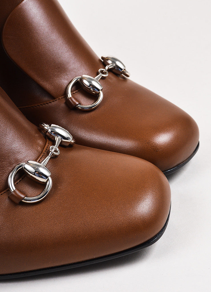"Gucci ""Nut"" Brown Leather Horse Bit ""Twiggy"" Knee High Boots Detail"