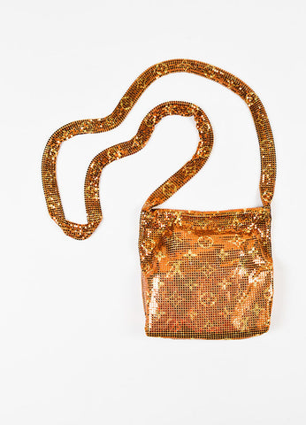 "Louis Vuitton ""Frances"" Metallic Bronze Gold Mesh Monogram Evening Bag Backview"