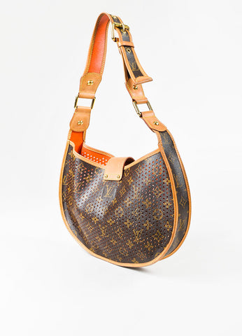 "Louis Vuitton ""Demi Lune"" Brown Coated Canvas Monogram Perforated Shoulder Bag Sideview"