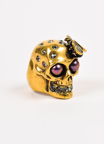 Alexander McQueen Brass Swarovski Crystal Faux Pearl Skull Bee Ring Sideview