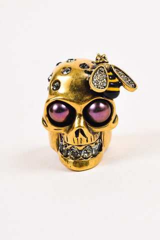 Alexander McQueen Brass Swarovski Crystal Faux Pearl Skull Bee Ring Frontview