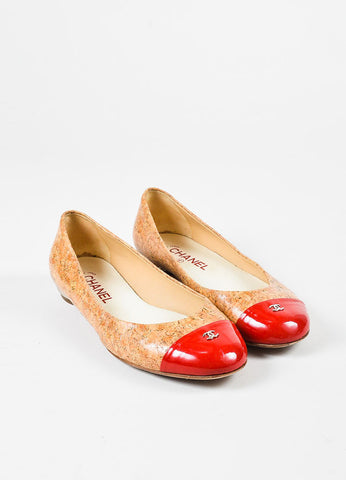 Chanel Tan and Red Coated Cork Patent Leather Cap Toe 'CC' Ballerina Flats Frontview