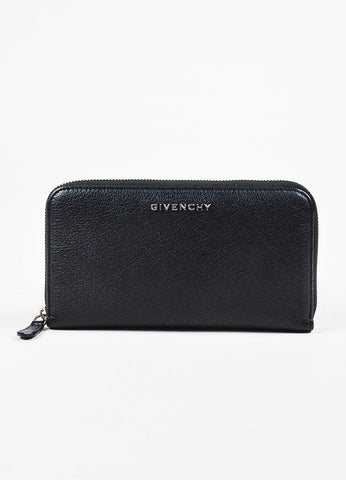 "Givenchy ""Pandora"" Black Goat Leather Zip Around Wallet Frontview"