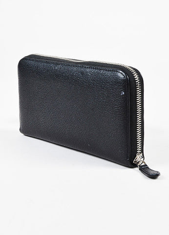 "Givenchy ""Pandora"" Black Goat Leather Zip Around Wallet Sideview"
