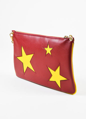 Stella McCartney Maroon Red and Yellow Faux Leather Shoulder Clutch Bag Sideview
