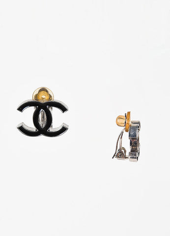 Chanel Autumn 2004 Black and Silver Toned Enameled 'CC' Clip On Earrings Sideview