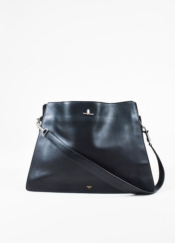 "Celine ""New"" Black Leather Shoulder Bag Frontview"