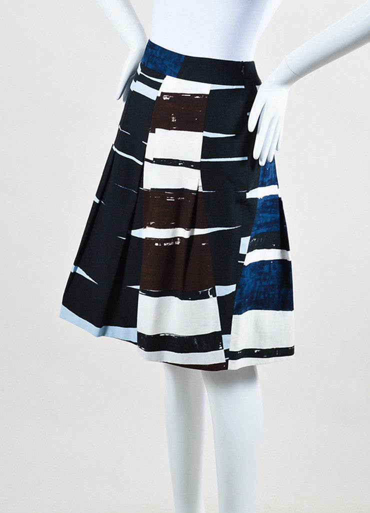 Akris Punto Navy Blue, White, and Brown Printed Pleated A-Line Skirt Sideview