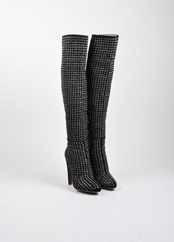 Black Suede Silver Tone Rivet Knee High Almond Toe Boots Frontview