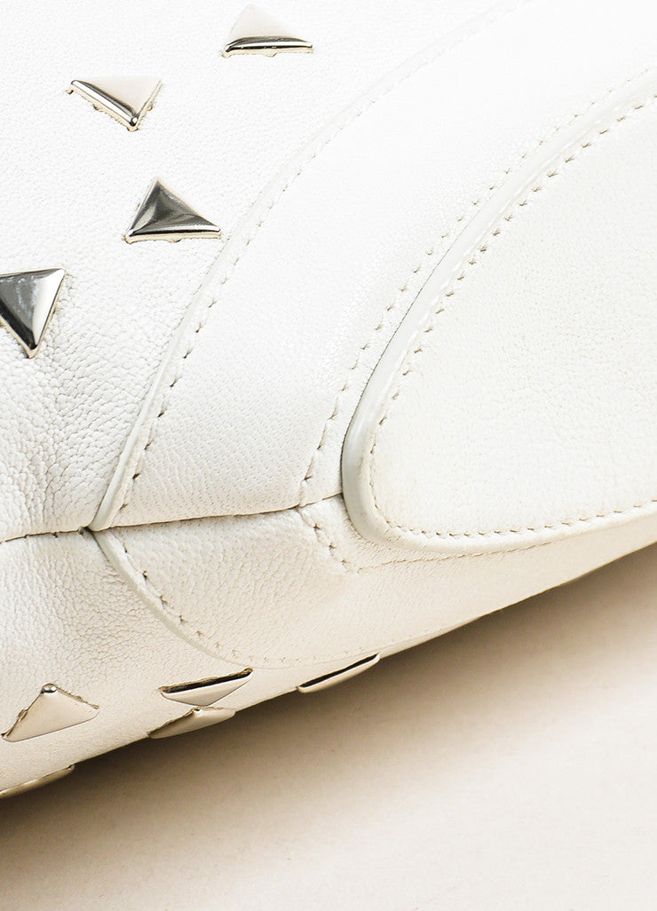 "Alexander McQueen White Leather Triangle Studded ""De Manta"" Clutch Bag Detail"